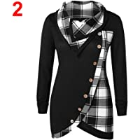 Women Plaid Long Sleeve Asymmetrical T-Shirt Spliced Casual Button Tops Turtleneck Tops