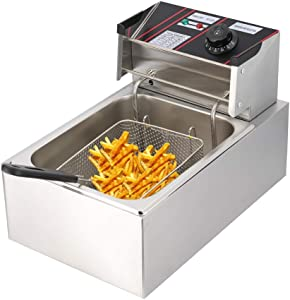 Deep Fryer, Electric Deep Fat Fryers with Baskets, Countertop Kitchen Frying Machine,for Turkey, French Fries, Donuts 6 Liters Capacity Oil Frying Pot with View Window,1700W 110V (6L)