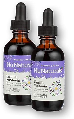 NuNaturals Plant Based Vanilla Stevia Extract Drops - All Natural Liquid Sweetener - 2 oz (2 Pack)