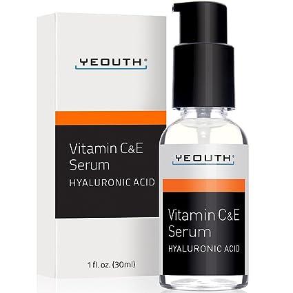 Vitamina C Suero para día con Suero de Ácido Hialurónico, Vitamina E, anti envejecimiento