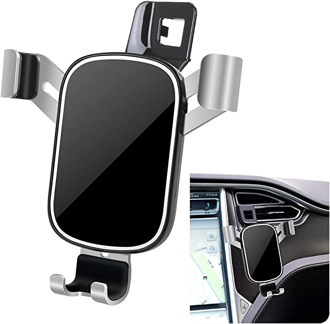 LUNQIN Car Phone Holder for Tesla Model X 2016-2020 Model S 2012-2020 Auto Accessories Navigation Bracket Interior Decoration Mobile Cell Phone Mount