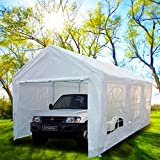 Peaktop® 20'x10' Heavy Duty Portable Carport Garage Car Shelter Canopy Party Tent Sidewall with Windows White