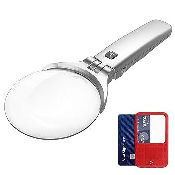 5f790a0c04 HONWELL - Lupa de mano y de bolsillo para lectura (3 x 5 x lupa con luz LED,  el mejor regalo para personas mayores y niños: Amazon.es: Oficina y  papelería