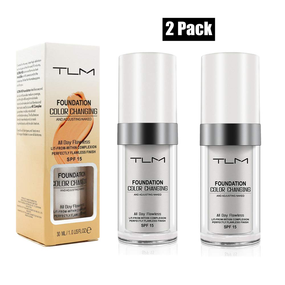 2 Pack TLM Flawless Colour Changing Foundation Makeup, Concealer Cover Cream, Warm Skin Tone Foundation liquid, Base Nude Face Moisturizing Liquid Cover Concealer for Women and Girls (2 Pack)