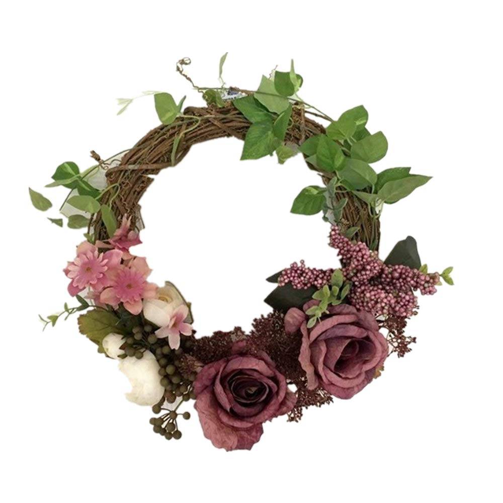 Adeeing 12 Inches Floral Artificial Rose Green Leaves Flower Rattan Wreath Door Hanging Wall Window Decoration Holiday Festival Wedding Decor, Purple