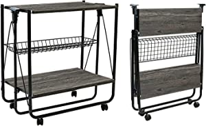 QEEIG Folding Bar Cart Kitchen Serving Island Carts with Wheels Farmhouse Rolling Dinning Islands Foldable Storage Baker Rack, Charcoal Grey (SC835-083GY)