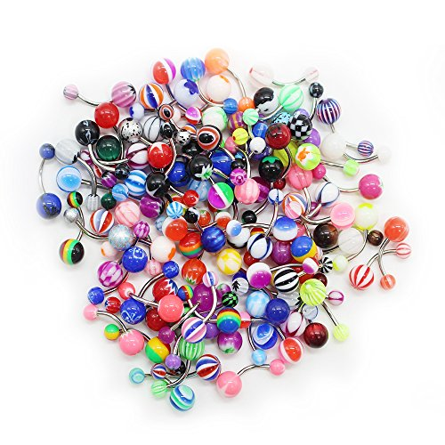 SHINEstyle 100 Pcs 14G Mixed Belly Button Navel Rings Barbells Body Piercing (Special Nose Art)