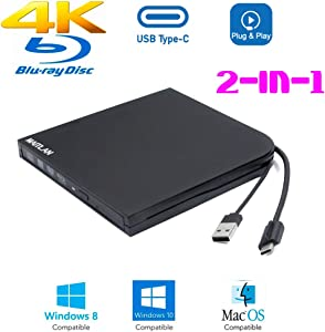 Ultra Slim External 4K UHD HD 3D Blu-ray Disc Player, USB Type-A & Type-C USB-C 2-In-1 6X BD-R BD-RE DL BDXL 100GB DVD-R M-Disc Burner Portable Optical Drive, for Windows 10 Mac OS Laptop & Desktop PC