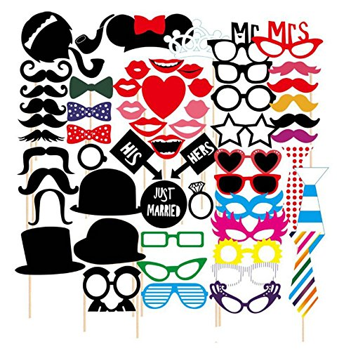[TOAOB Photo Booth Props 58 piece DIY Kit for Wedding Party Reunions Birthdays Photobooth Dress-up Accessories & Party Favors, Costumes with Mustache on a stick, Hats, Glasses, Mouth,] (Cars Movie Costumes)