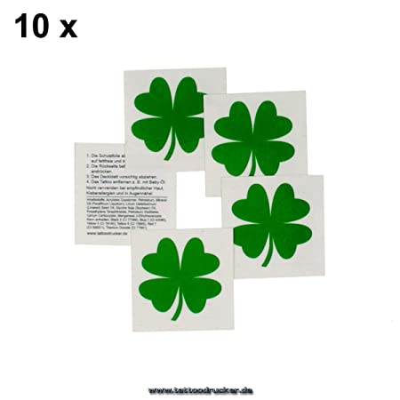 Tatuaje de trébol - Adhesivo de la suerte, verde, 10: Amazon.es: Hogar