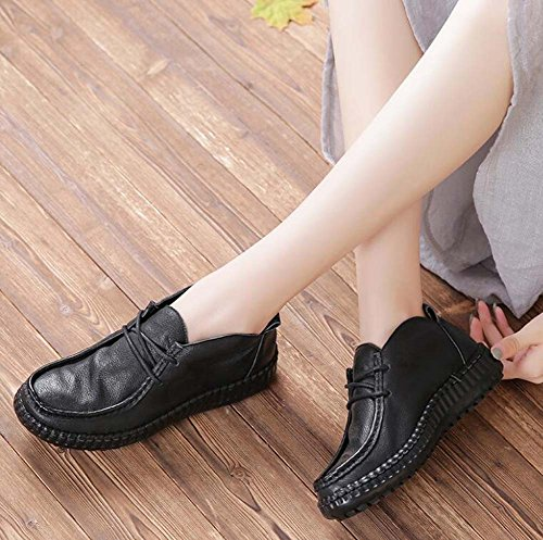 Eu Soft Toe Shoes 34 Round 40 Shoelace Shoes Size Leather Bottom Women Court Black Shoes Simple Shoes Casual Flat Mum Heels Martin Pump 0vxn7wUqA