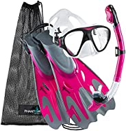 Phantom Aquatics Snorkel Mask Fin Snorkeling Set with Swim Gear Bag