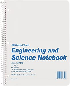 """NATIONAL Engineering & Science Notebook, White, 11"""" x 8.5"""", 60 Sheets (33610)"""