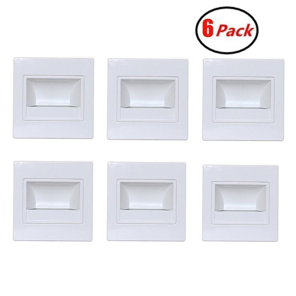 Zxlight 6-Pack LED Corner Wall Lamp 85-265V Embedded LED Stairs Step Night Light LED Stair Wall Lighting for Hallway, Stairs, Closet, Bedroom COOL White (White) by Zxlight