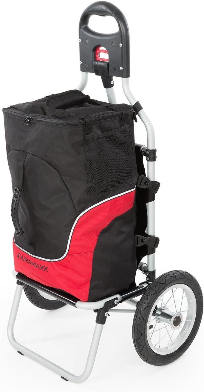 DURAMAXX Carry - Carrito Remolque para Bicicleta, Carga hasta 20 kg, Bolso Desmontable con Cremallera, Neumáticos de 12 Pulgadas, Instalación práctica, Protección Lluvia, Descarga rápida