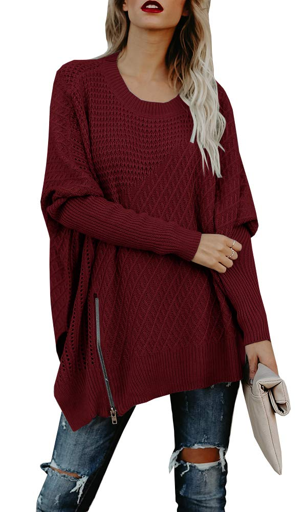 Beautife Womens Oversized Knitted Sweater Casual Crewneck Long Batwing Sleeve Jumper Pullover (Medium, Wine Red)