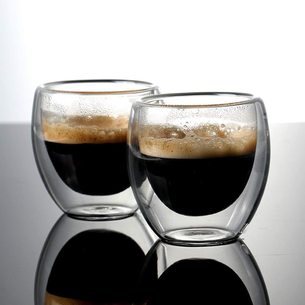 Couleur : Clear du latte du macchiato Tasse de caf/é en verre /à double paroi 6 x 80 ml pour boire du th/é du caf/é au lait de lespresso et des boissons froides