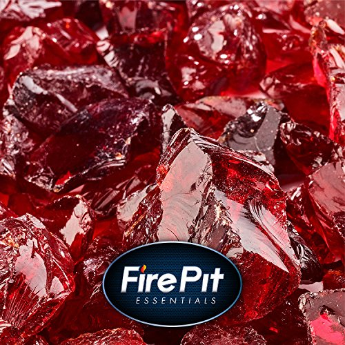 Marlboro Red - Crushed Fire Glass for Indoor and Outdoor Fire Pits or Fireplaces | 10 Pounds | 1/2 Inch - 3/4 Inch (Red Fire Pit Glass)