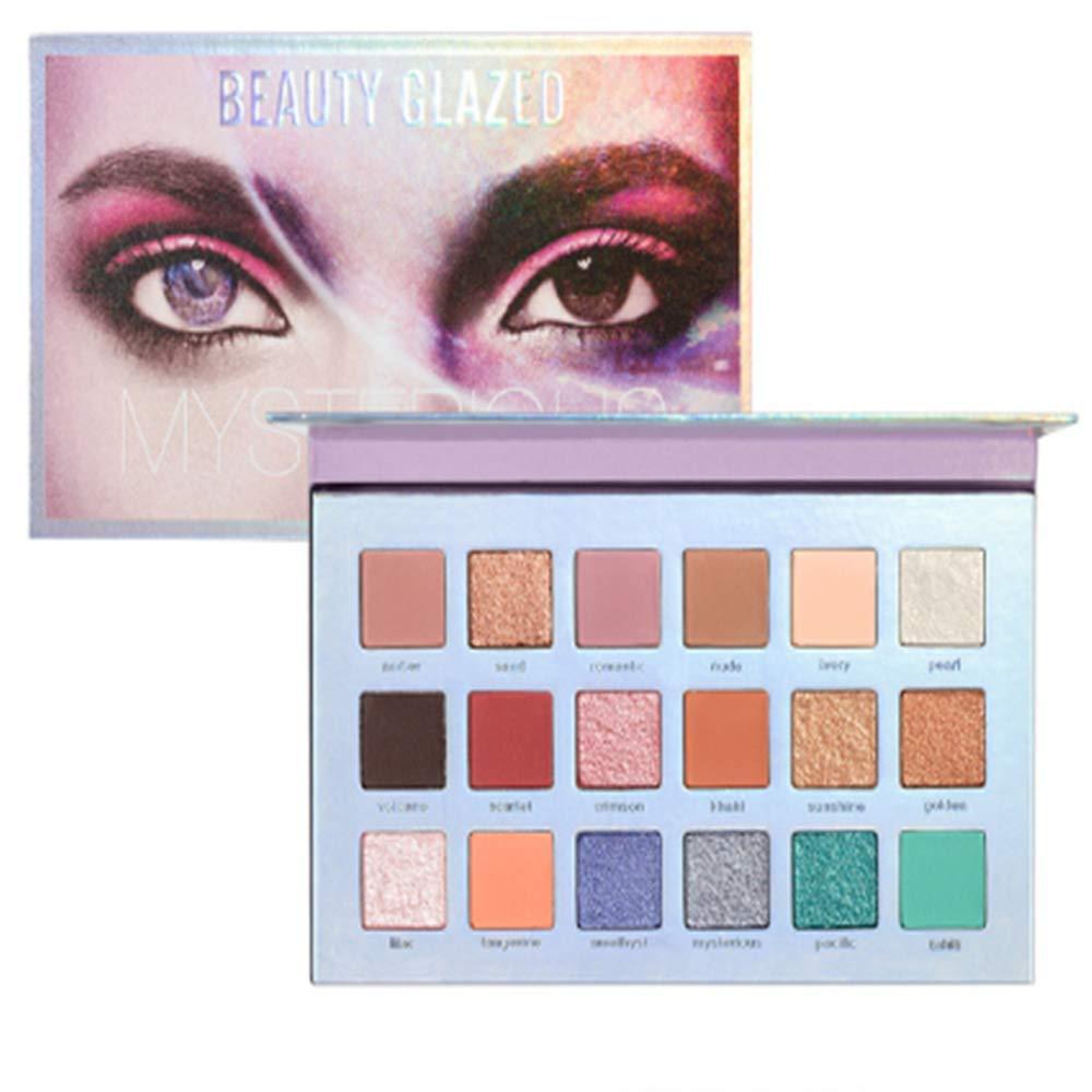 18 Colors Eyeshadow Matte Glitter Pearlescent Makeup Eyeshadow Pigment Waterproof Long Lasting Easy to Wear Shimmer Eye Shadow Palette Cosmetics Makeup Tools