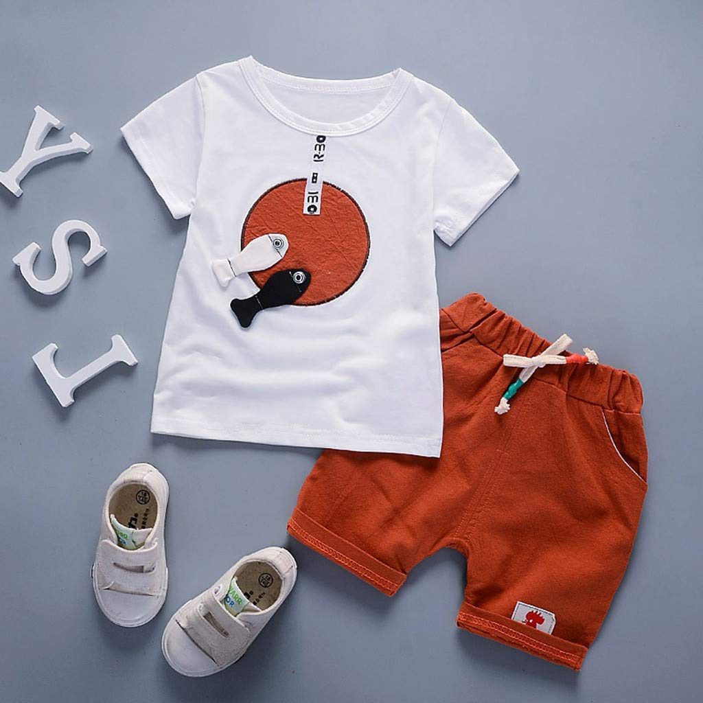 Toddler Baby Kids Boys Cartoon T shirt Tops Pants Trousers Shorts Outfits Sets
