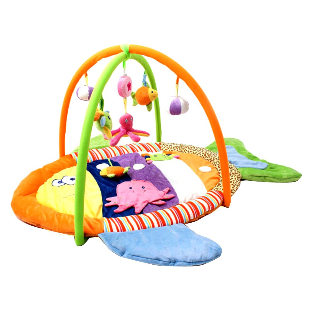 Dovewill Baby Musical Sensory Play Mat Animals Soft Cotton Play Gym - Fish, as described by Dovewill (Image #3)