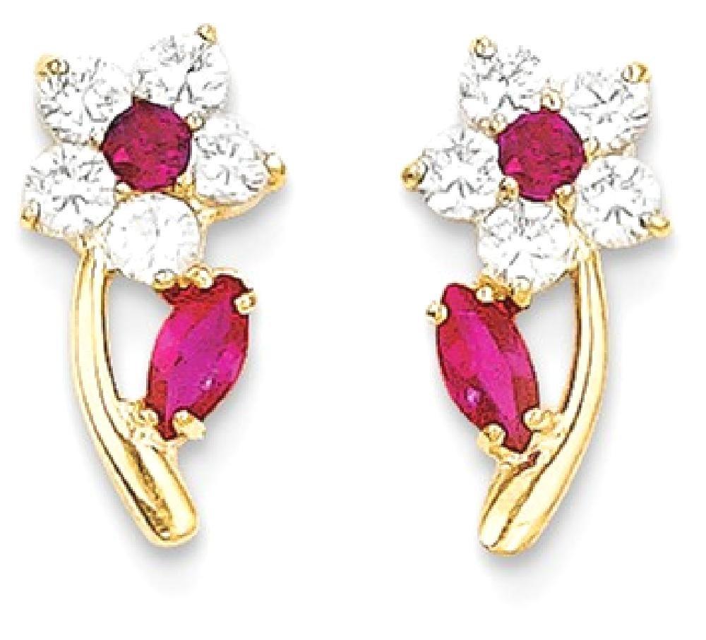 ICE CARATS 14k Yellow Gold Clear Red Cubic Zirconia Cz Flower Post Stud Earrings Drop Dangle Gardening Fine Jewelry Gift Set For Women Heart