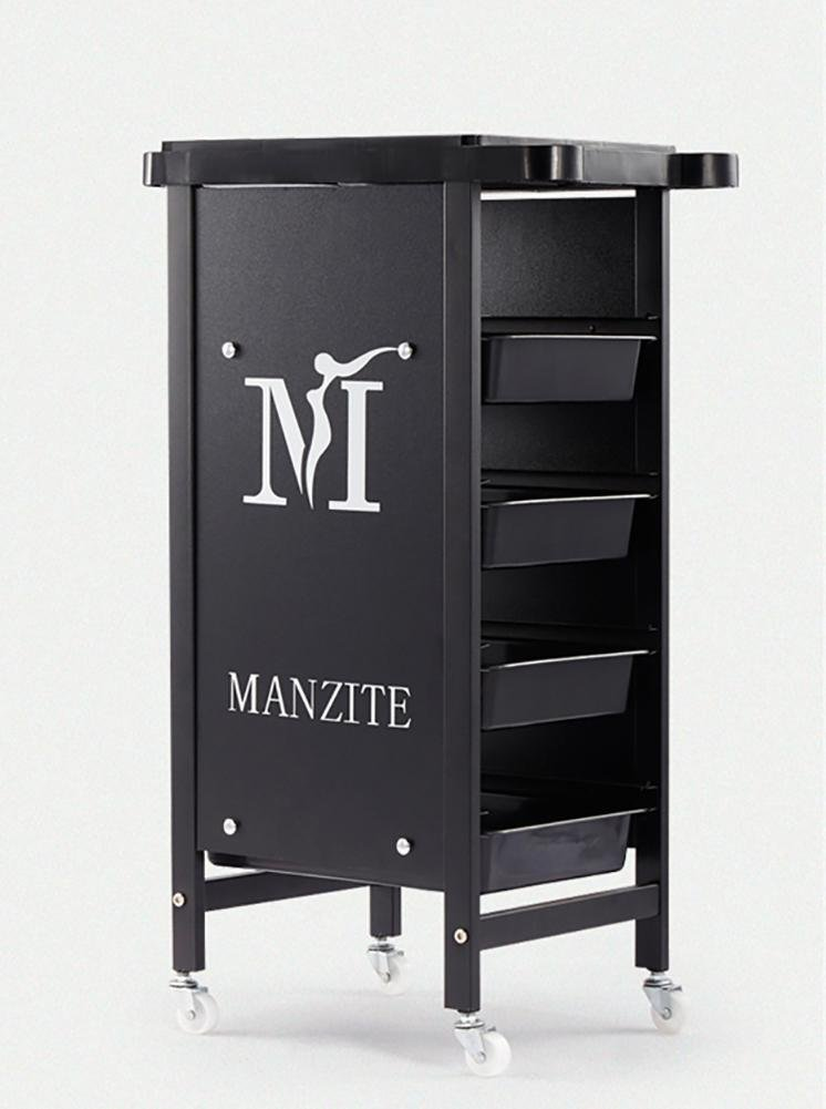 5 Layers Salon Rolling Storage Trolley Hairdressers Spa Hair Stylist Beauty Barber Cart with 4 Drawers Hair Dryer Holder Black