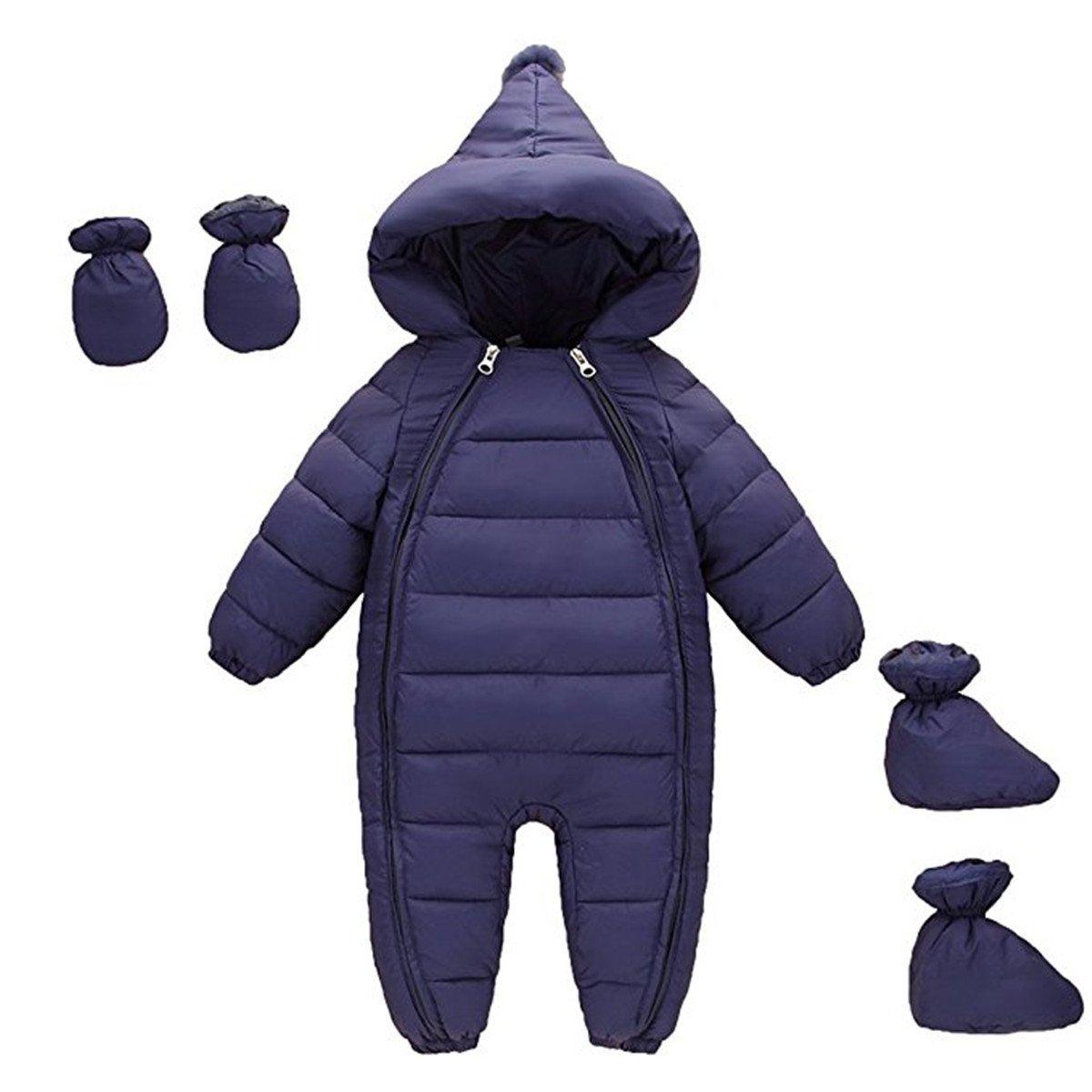 3 Piece Kinder Junge Mädchen Daunenanzug Daunenmantel Herbst Winter Jumpsuit Schneeanzug Spielanzug Overall mit Schuhe und Handschuhe