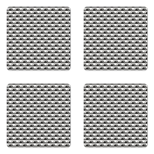 Geometric Coaster Set of Four by Ambesonne, Concrete Geometric Patterns with Odd Minimalist Linked Shapes Image Print, Square Hardboard Gloss Coasters for Drinks, Grey Black White (Concrete Coasters Drink)