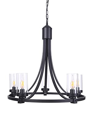 Homenovo Lighting Meuse 5 Light Chandelier With Clear Glass Rustic For Foyer