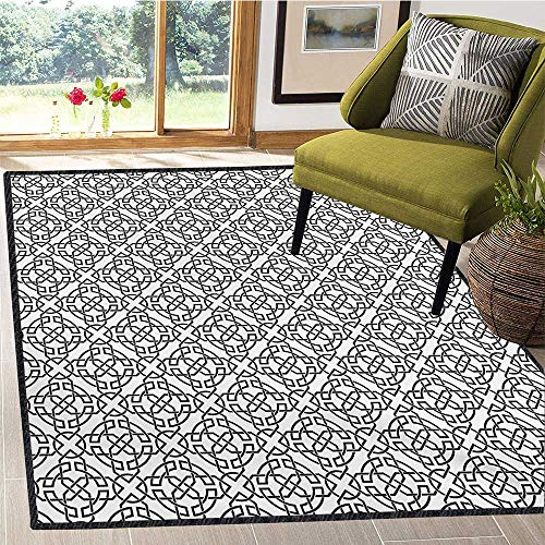 Celtic, Floor Mat for Kids, Antique Art Monochrome Pattern with Intricate Knot Motifs Curved Twisted Lines, Children Kids Nursery Rugs Floor Carpet 6x7 Ft Black White