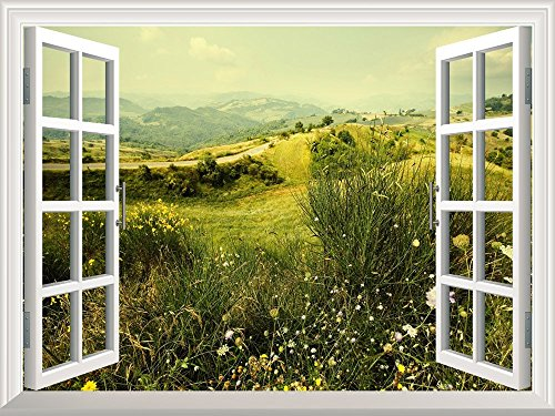 Removable Wall Sticker Wall Mural Beautiful Spring Field with Wild Flowers Creative Window View Wall Decor