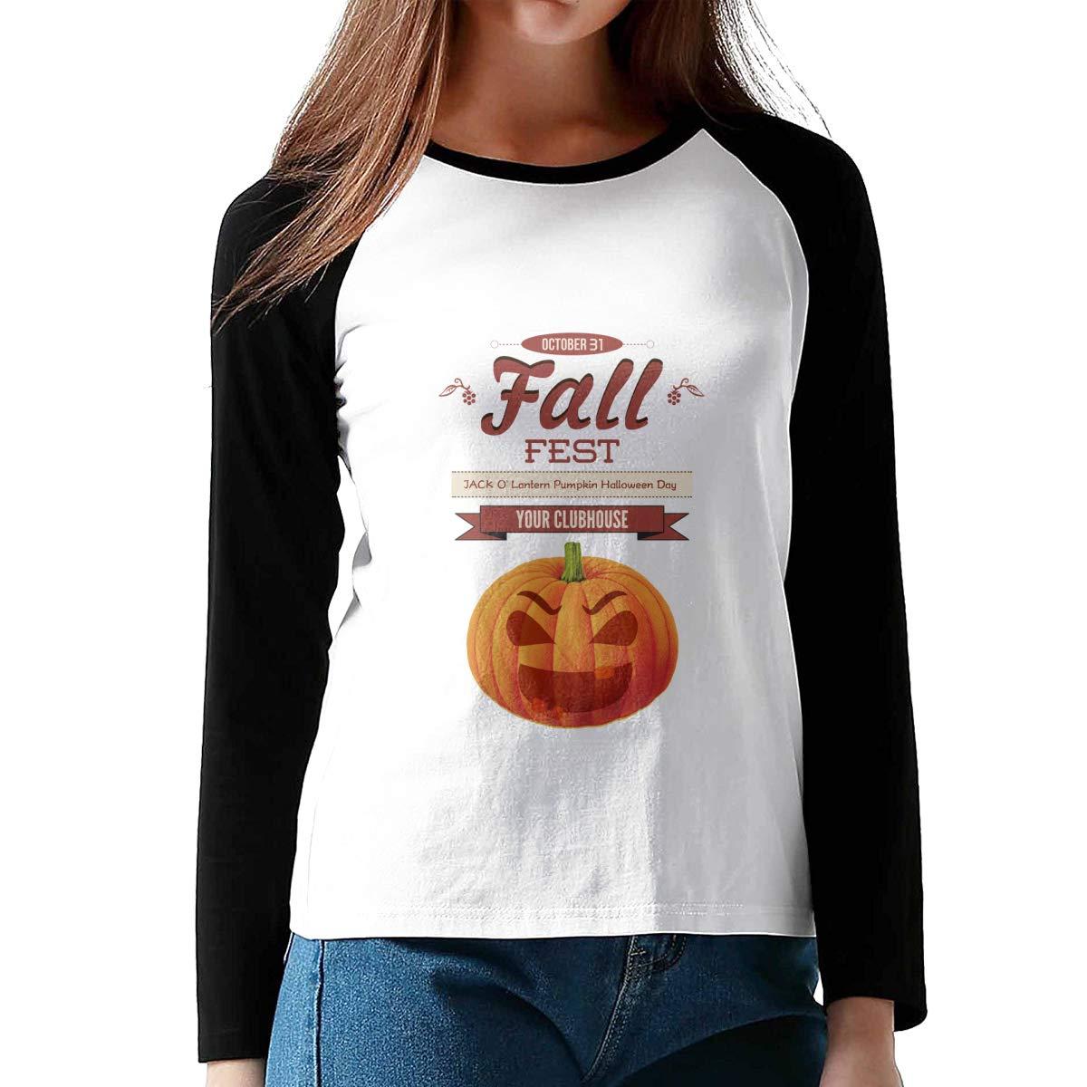 MiiyarHome Womens Long Sleeve Baseball T-Shirts Halloween Costume Girls Raglan/Sleeves Jersey Tee Shirt Black