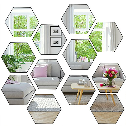 Aneco 24 Sheets Flexible Mirror Sheets Mirror Wall Stickers Self Adhesive Plastic Mirror Tiles for Home Decor (The Blue Film Needs to be Peel Off) for $<!--$10.99-->