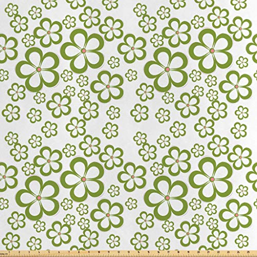 Lunarable Flower Fabric by The Yard, Daisy Floral Pattern Summertime Garden Greenery Grass Field Modern Flower, Decorative Satin Fabric for Home Textiles and Crafts, 2 Yards, Green White