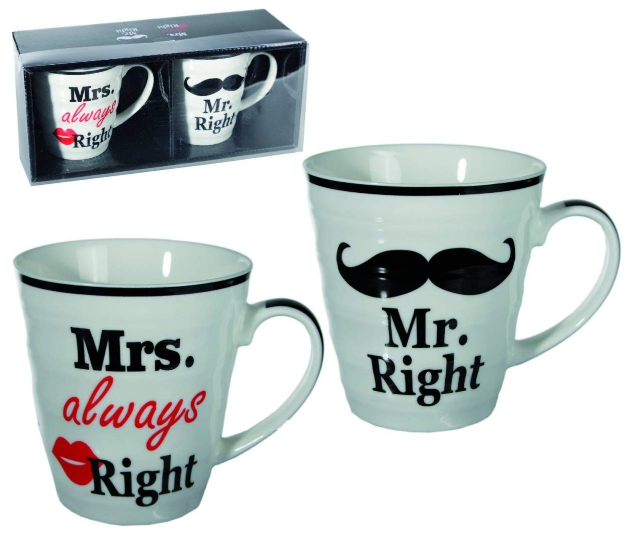 Gift, Present for Your Nan & Grandad This Christmas, Birthday - Set of 2 Mr Right & Mrs Always Right Porcelain Mug Set of 2 WW Global
