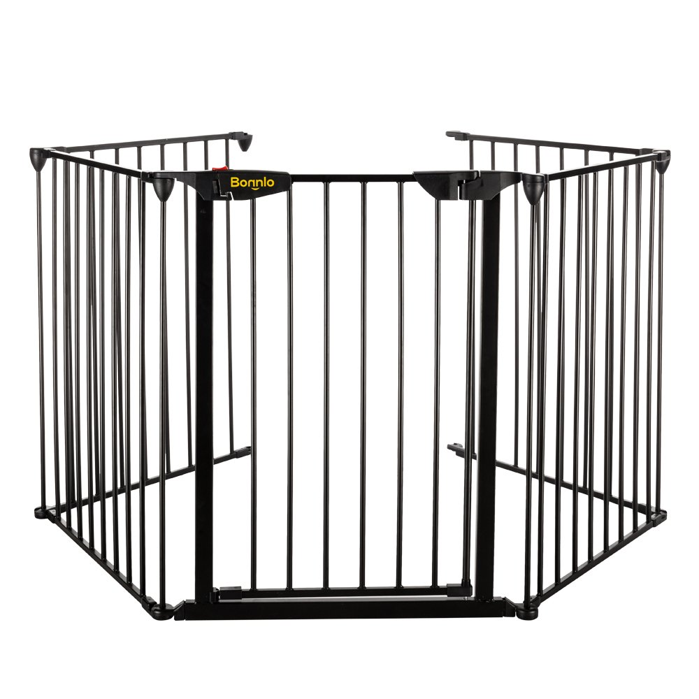 Bonnlo 121-Inch Wide Metal Fireplace Fence Adjustable 5-Panel Baby Safety Gate Play Yard for Toddler/Pet/Dog/Cat Christmas Tree Fence Wide Barrier Gate, Black