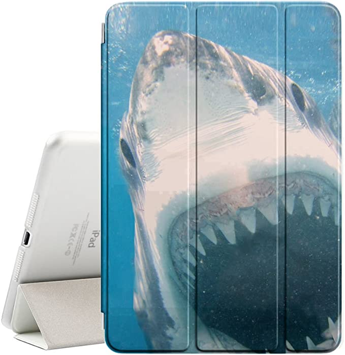 """STPlus Big Shark Attacking Smart Cover With Back Case + Auto Sleep/Wake Funtion + Stand for Apple iPad 2017 (9.7"""")"""