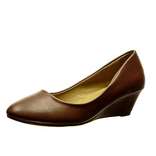 Angkorly - Zapatillas Moda Bailarinas Slip-on Mujer Talón Tacón Ancho Alto 5 CM: Amazon.es: Zapatos y complementos