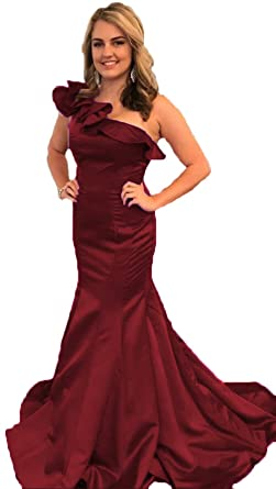 68a5687efc6 BEAUTBRIDE Women s One Shoulder Prom Dress Satin Mermaid Long Evening Dress  Formal 2019 Burgundy 2