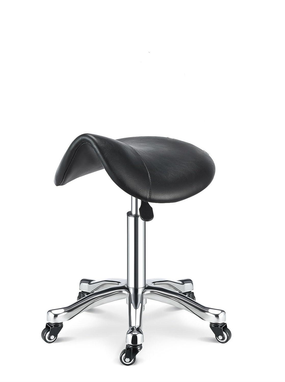 Greenlife Saddle Rolling Massage steel base Stool, Hydraulic Adjustable, black GREENLIFE INC.