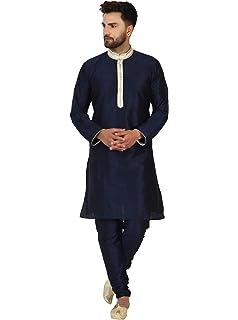 SKAVIJ Seda Moda Kurta Pijama (Camisa Larga y Pantalón) para Hombre: Amazon.es: Ropa y accesorios