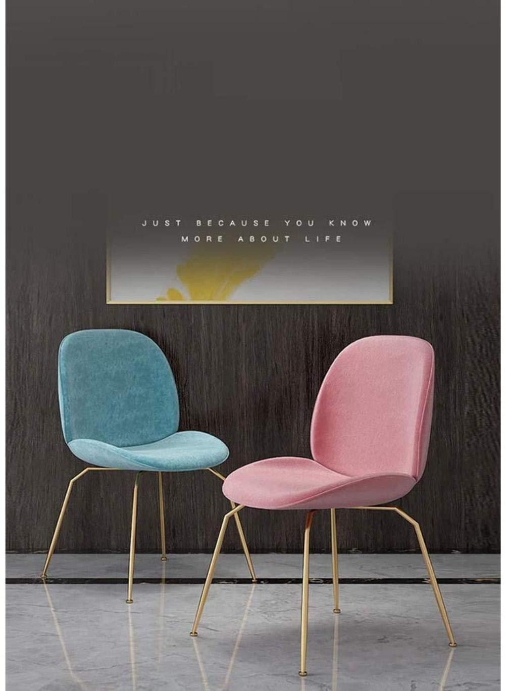 Kontorsstol, metallben vardagsrumstol, köksstolar, fåtölj, sminkstol, ryggstöd armstöd knästol (färg: Rosa) Himmelsblå