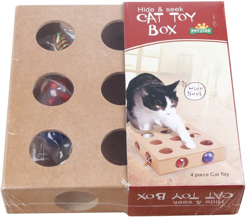 Juguete de actividad para gato 17 agujeros caja de madera juguete pelotas ratón para gatos: Amazon.es: Productos para mascotas