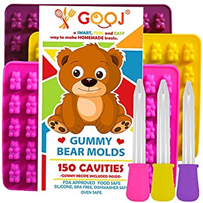 Gooj-Gummy Bear Molds- 3 Blue Silicone Molds 150 gummy bears total 3 BONUS Droppers And Gummy Bear Recipe Printed On The Product Box.- FDA Approved & BPA Free