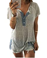 Bluester Women Loose Casual Button Blouse Short Sleeve T Shirt Tank Tops