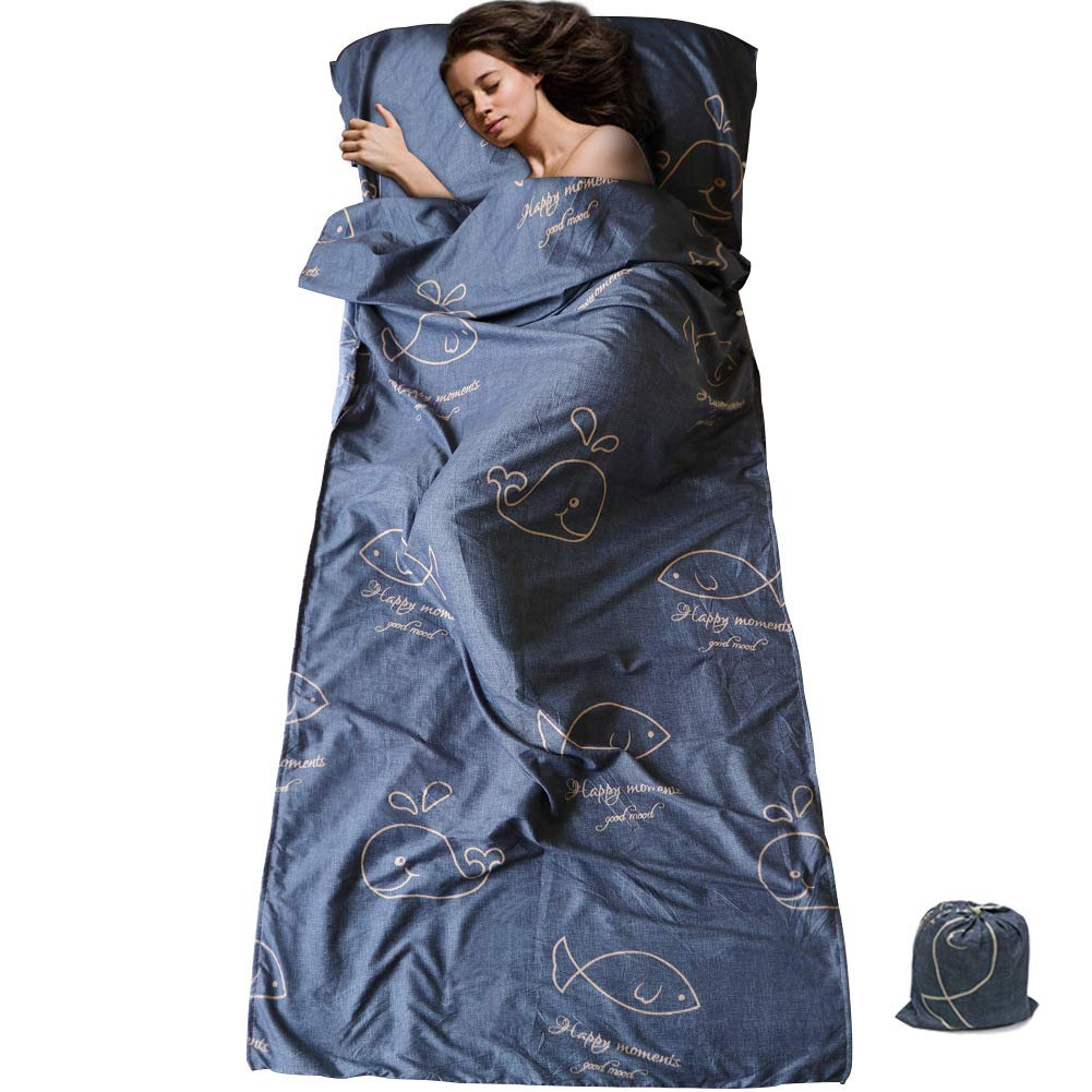 Hostel Motel and Outdoor Summer Sleeping Bag with Zippered Vent SueH Design Sleeping Bag Liner Long and Lightweight for Adult Use in Hotel