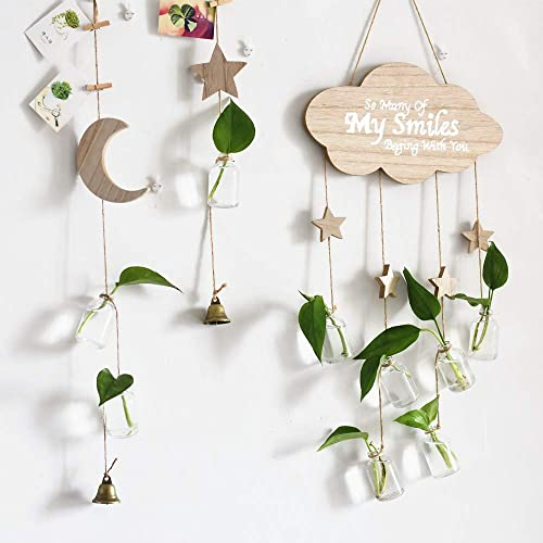 Hanging Planter Wall Decor Glass Flower Vase with Wooden Moon and Star Hydroponic Terrarium Bottle for Home Windows Balcony Decoration 3pcs-Star, Moon, Cloud