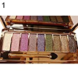 EVERICH Women 9 Colors Waterproof Make UP Glitter Eyeshadow Palette with Brush (1)