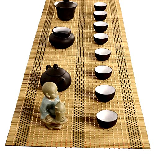 YOY Tea Ceremony - Kung Fu Tea Set Mat Natural Bamboo Tablemat Slat Handmade Bamboo Sticks Decor Placemat Tea Table Runner 12 By 59-Inch, Yellow ()